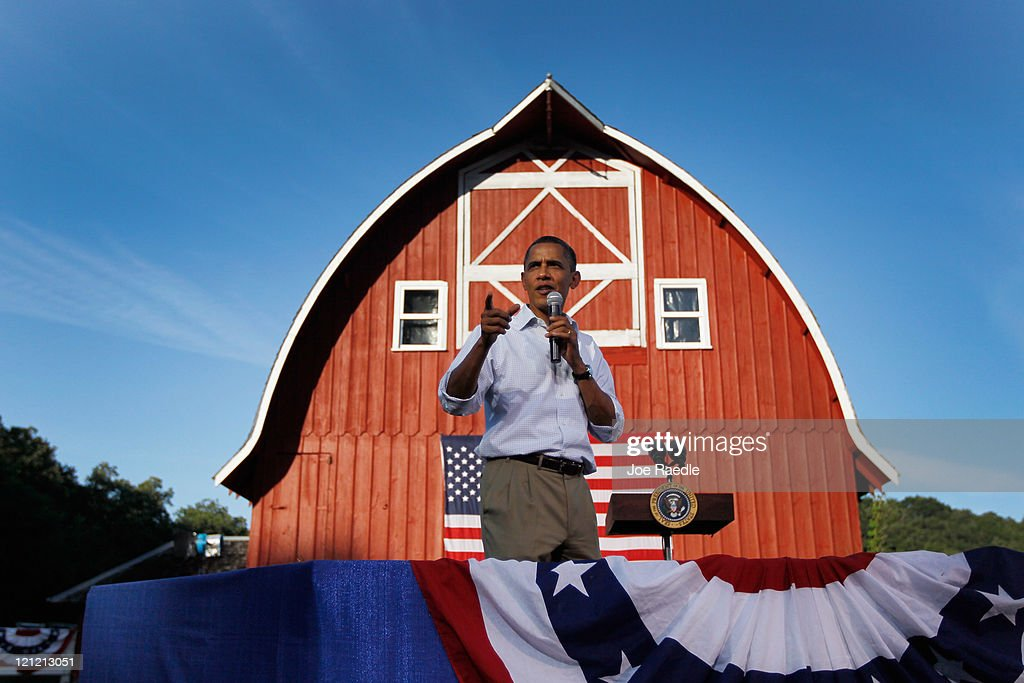 President Barack Obama speaks at a town hall style meeting at the Seed Savers Exchange on August 15, 2011 in Decorah, Iowa. Obama is on a three-day bus tour of Minnesota, Iowa and Illinois where he is scheduled to speak with people about economic issues.