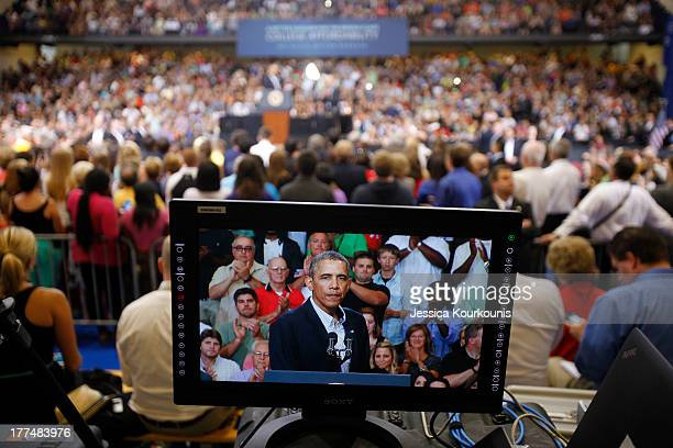 S President Barack Obama speaks at an event at Lackawanna College on August 23 2013 in Scranton Pennsylvania Obama is on his second day of a bus tour...
