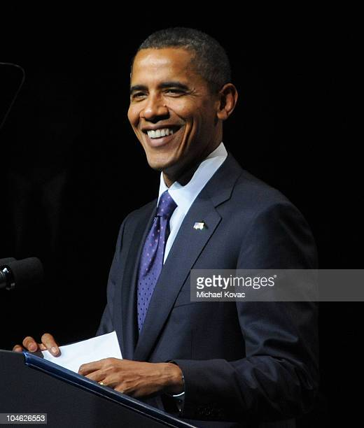 President Barack Obama speaks at an event presented by GEN44 and the Democratic National Committee at DAR Constitution Hall on September 30 2010 in...