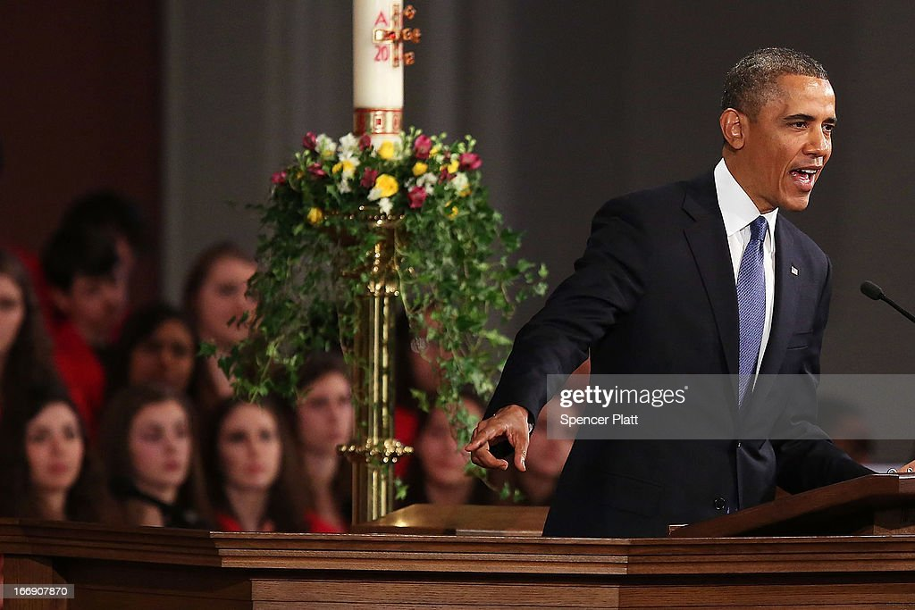 President Barack Obama speaks at an interfaith prayer service for victims of the Boston Marathon attack titled 'Healing Our City,' at the Cathedral of the Holy Cross on April 18, 2013 in Boston, Massachusetts. Authorities investigating the attack on the Boston Marathon have shifted their focus to locating the person who placed a black bag down and walked away just before the bombs went off. The twin bombings at the 116-year-old Boston race, which occurred near the marathon finish line, resulted in the deaths of three people and more than 170 others injured.