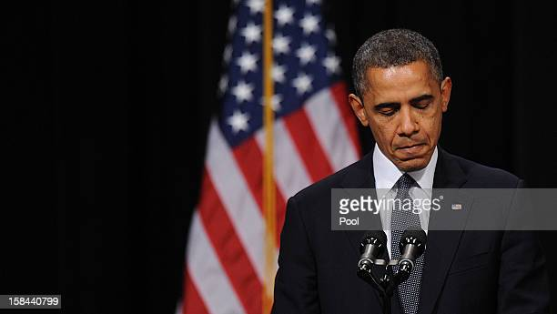 S President Barack Obama speaks at an interfaith vigil for the shooting victims from Sandy Hook Elementary School on December 16 2012 at Newtown High...