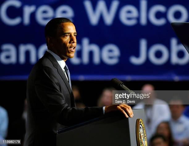 S President Barack Obama speaks at Cree Inc after meeting with the Council on Jobs and Competitiveness Council at the corporate and manufacturing...