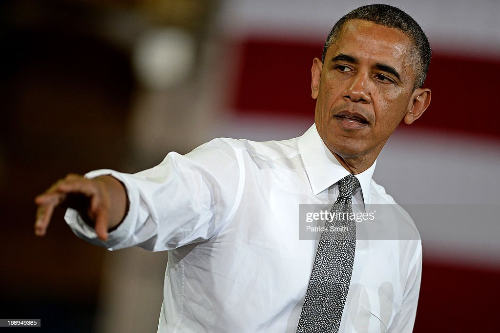 U.S. President Barack Obama speaks at Ellicott Dredges, a manufacturing facility, on May 17, 2013 in Baltimore, Maryland. As part of his 'Middle Class Jobs and Opportunity Tour' Obama is also visiting an elementary school and community center while in Baltimore.