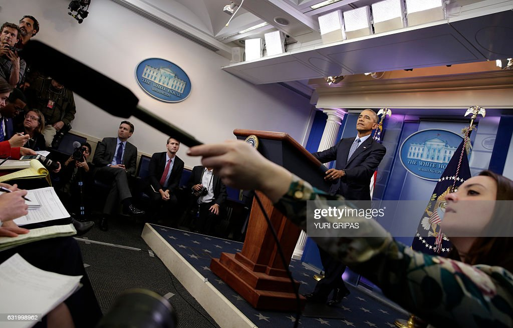 US President Barack Obama speaks at his final press conference at the White House in Washington on January 18, 2017. 'I think it's in America's interest and the world's interest that we have a constructive relationship with Russia. That's been my approach throughout my presidency,' Obama said at his final press conference. / AFP / YURI
