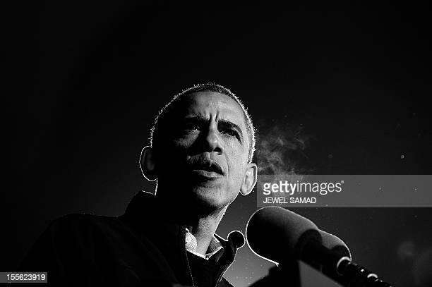 President Barack Obama speaks at his last campaign rally in Des Moines Iowa on November 5 2012 After a grueling 18month battle the final US campaign...