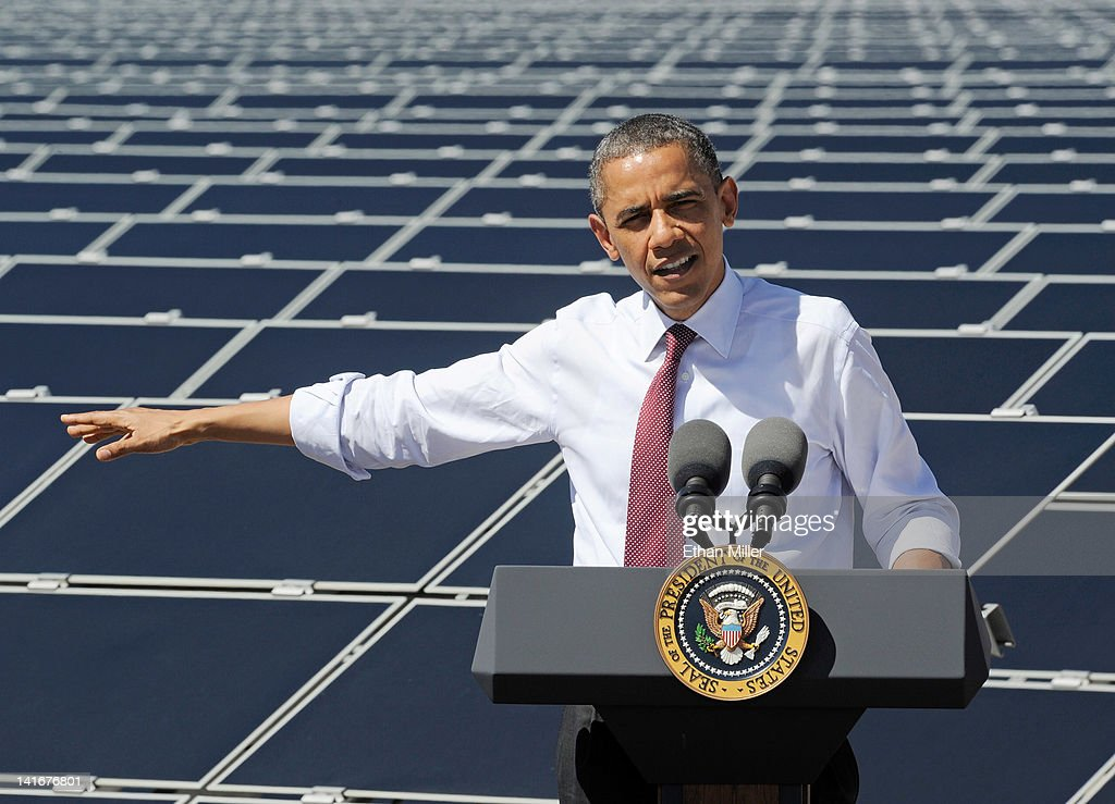 U.S. President Barack Obama speaks at Sempra U.S. Gas & Power's Copper Mountain Solar 1 facility, the largest photovoltaic solar plant in the United States on March 21, 2012 in Boulder City, Nevada. Obama is on a four-state tour promoting his energy policies. The Copper Mountain solar facility is the largest operating photovoltaic plant operating in the country.