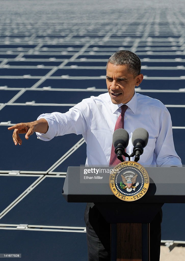 U.S. President Barack Obama speaks at Sempra U.S. Gas & Power's Copper Mountain Solar 1 facility, the largest photovoltaic solar plant in the United States on March 21, 2012 in Boulder City, Nevada. Obama is on a four-state tour promoting his energy policies.