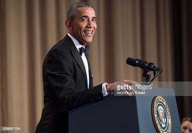 US President Barack Obama speaks at the 102nd White House Correspondents' Association Dinner in Washington DC on April 30 2016 / AFP / NICHOLAS KAMM