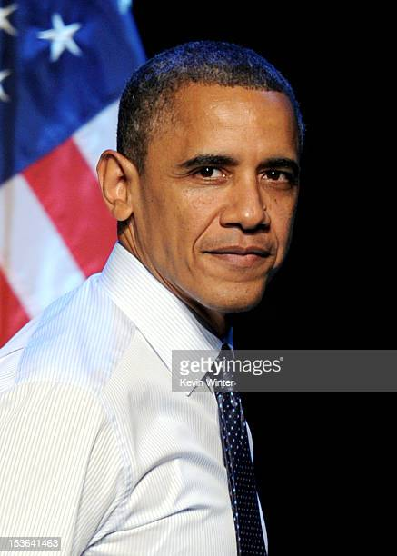 President Barack Obama speaks at the '30 Days To Victory' fundraising concert at the Nokia Theater LA Live on October 7 2012 in Los Angeles California