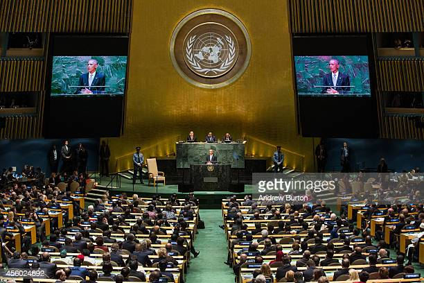 President Barack Obama speaks at the 69th United Nations General Assembly at United Nations Headquarters on September 24, 2014 in New York City. The...