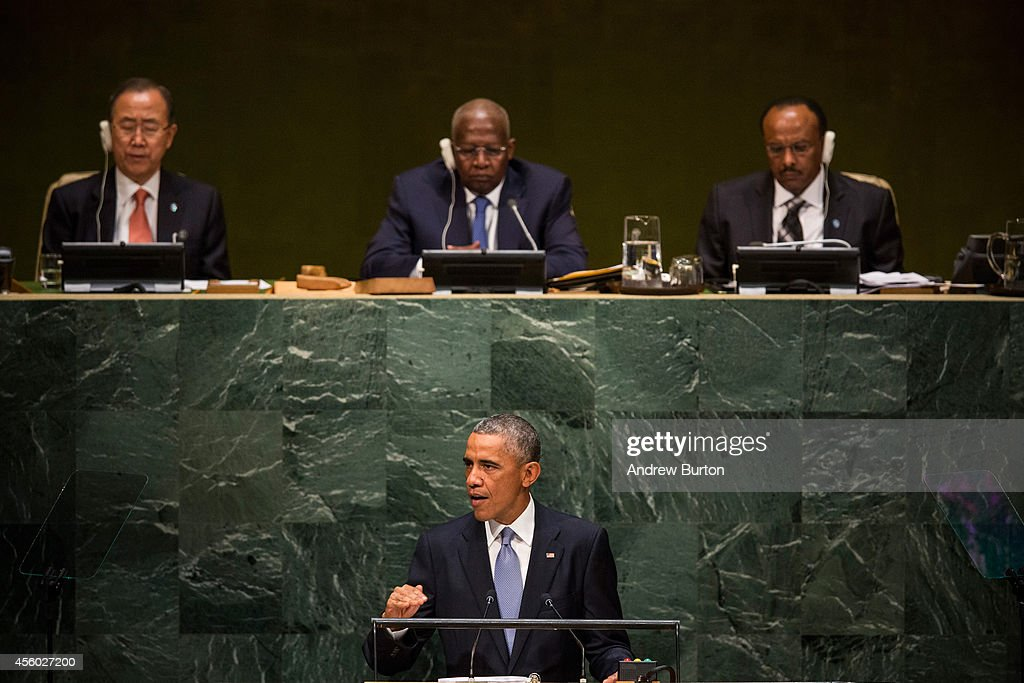 U.S. President Barack Obama speaks at the 69th United Nations General Assembly at United Nations Headquarters on September 24, 2014 in New York City. The annual event brings political leaders from around the globe together to report on issues meet and look for solutions. This year's General Assembly has highlighted the problem of global warming and how countries need to strive to reduce greenhouse gas emissions.