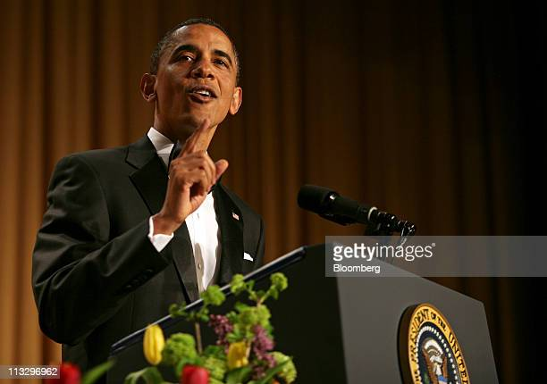 US President Barack Obama speaks at the annual White House Correspondents' Association dinner in Washington DC US on Saturday April 30 2011 The...