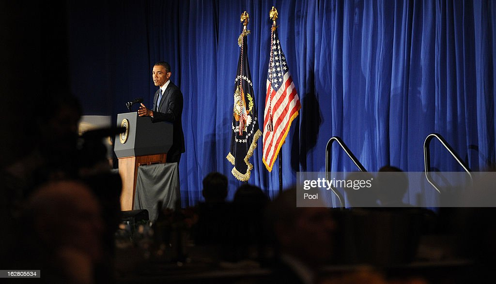U.S. President Barack Obama speaks at the Business Council dinner February 27, 2013 at the Park Hyatt Hotel in Washington, DC. The Business Council is comprised of business leaders in the United States.