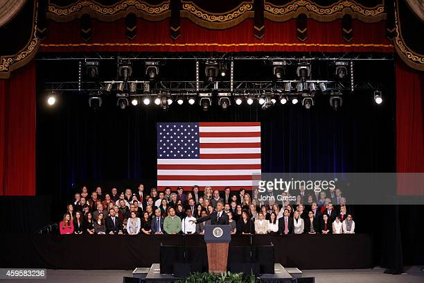 S President Barack Obama speaks at the Copernicus Community Center on November 25 2014 in Chicago Illinois Obama discussed the executive actions he...