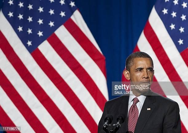 US President Barack Obama speaks at the Democratic National Committee's Lesbian Gay Bisexual Transgender Leadership Gala in New York June 23 2011 AFP...