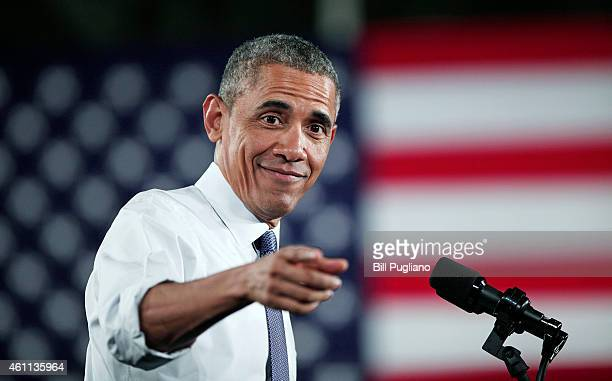 President Barack Obama speaks at the Ford Michigan Assembly Plant January 7, 2015 in Wayne, Michigan. Obama spoke about the American automotive and...