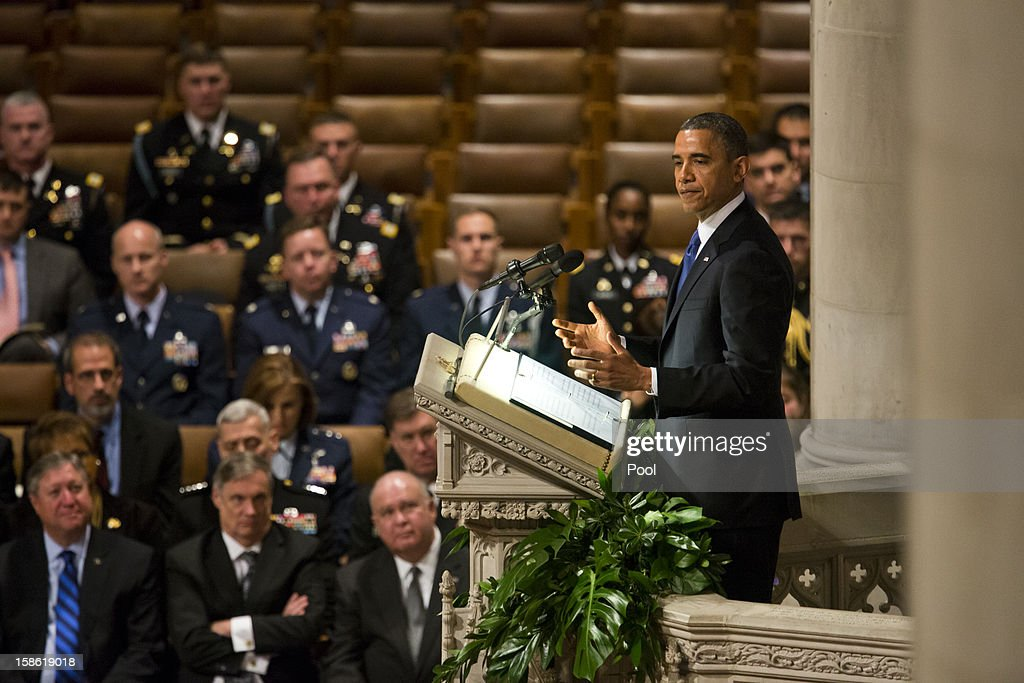 U.S. President Barack Obama speaks at the funeral service for the late Sen. Daniel Inouye (D-HI) at the Washington National Cathedral December 21, 2012 in Washington, DC. Inouye was a World War II veteran and then later the second-longest serving senator in history.