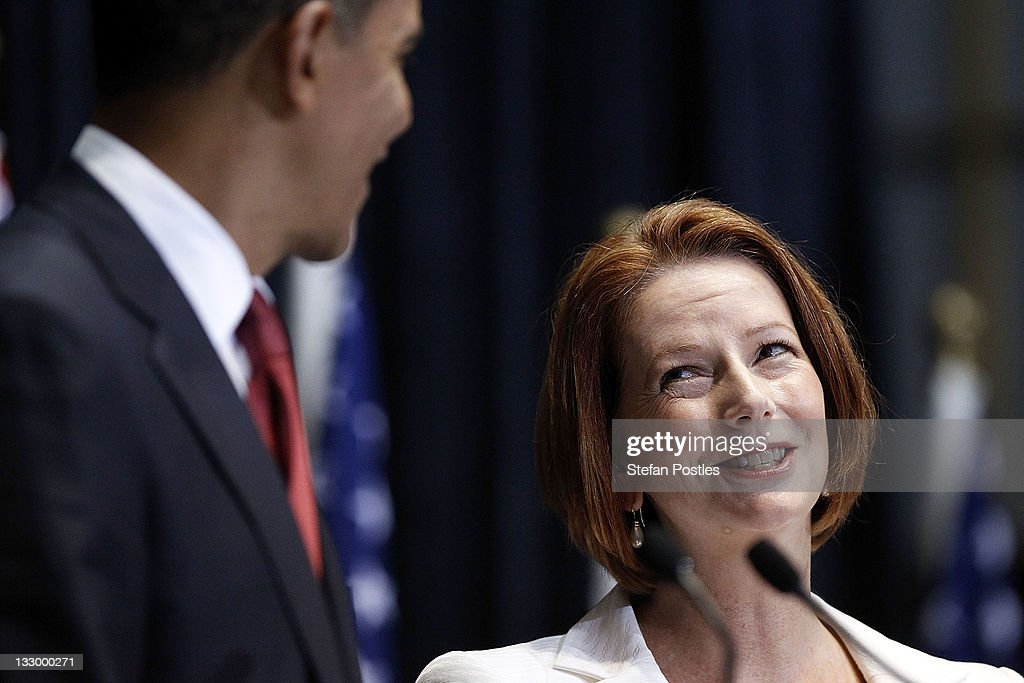 U.S. President Barack Obama speaks at the Joint Media Conference with Australian PM Julia Gillard on the first day of his 2-day visit to Australia, on November 16, 2011 in Canberra, Australia. The President will today receive a Cermeonial Welcome, attend a bi-lateral meeting and hold a joint media conference with Julia Gillard, and attend a Parliamentary Dinner this evening, before addressing Parliament and heading to Darwin tomorrow.
