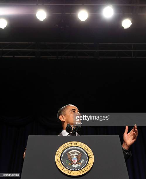 US President Barack Obama speaks at the National Prayer Breakfast February 2 2012 in Washington DC Obama defended his economic policies echoing his...