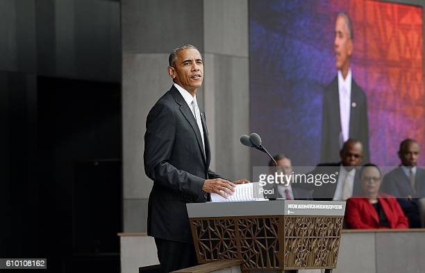 President Barack Obama speaks at the opening ceremony of the Smithsonian National Museum of African American History and Culture on September 24 2016...