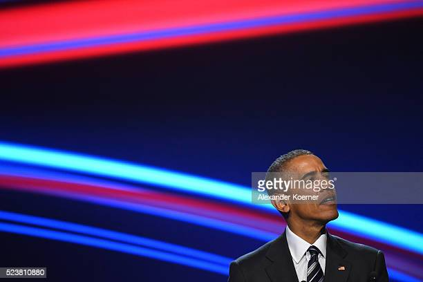 S President Barack Obama speaks at the opening evening of the Hannover Messe trade fair on April 24 2016 in Hanover Germany Obama met with German...