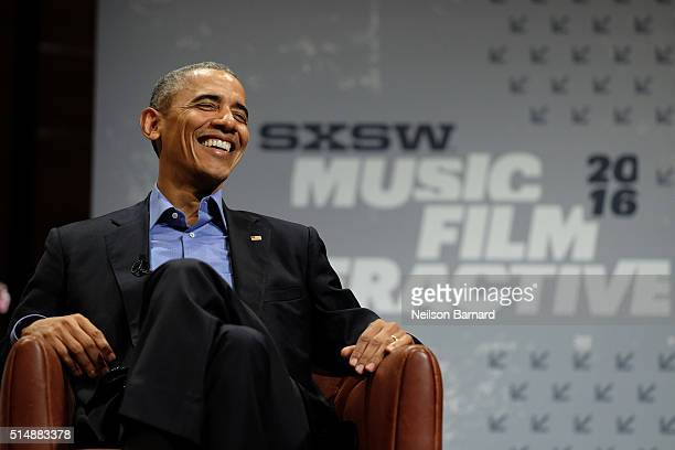 President Barack Obama speaks at the opening Keynote during the 2016 SXSW Music, Film + Interactive Festival at Long Center on March 11, 2016 in...