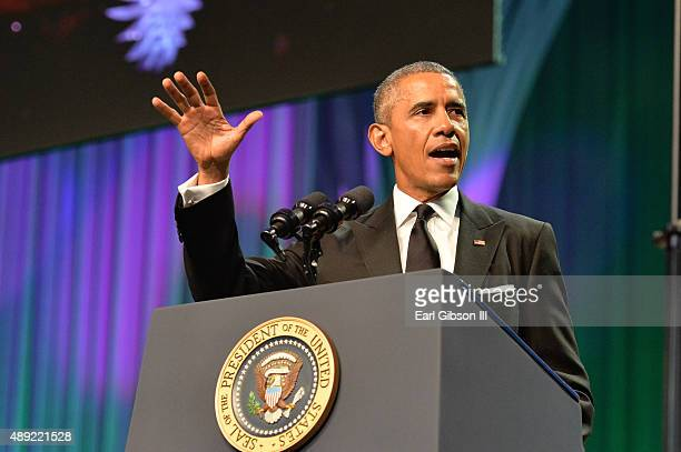 President Barack Obama speaks at the Phoenix Awards Dinner at the 45th Annual Legislative Black Caucus Conference at Walter E. Washington Convention...