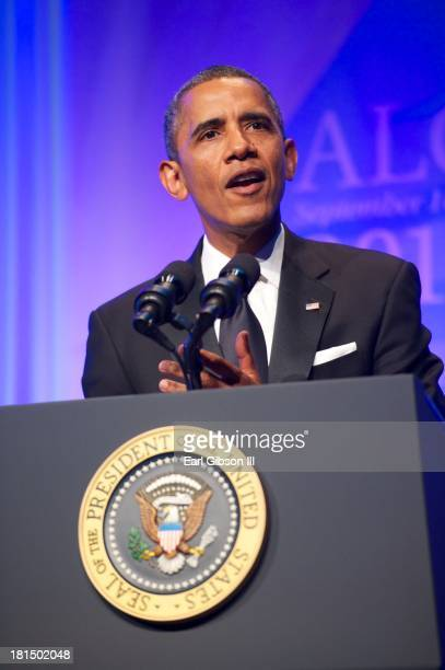 President Barack Obama speaks at the Phoenix Awards Dinner for the 43rd Annual Legislative Conference at the Walter E. Washington Convention Center...