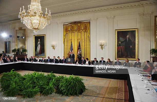 US President Barack Obama speaks at the President�s Export Council meeting September 16 2010 in the East Room of the White House in Washington DC AFP...