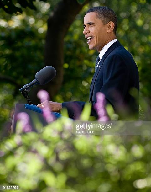President Barack Obama speaks at the Rose Garden of the White House in Washington, DC, on October 9, 2009 after he won the Nobel Peace Prize. Obama...
