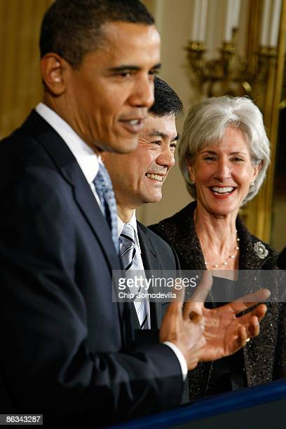 S President Barack Obama speaks at the swearingin of Commerce Secretary Gary Locke and Health and Human Services Secretary Kathleen Sebelius in the...
