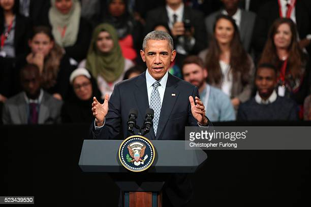 President Barack Obama speaks at the 'Town Hall' discussion with British youth at the Royal Horticultural Halls on April 23, 2016 in London, England....