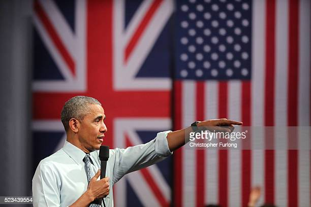 President Barack Obama speaks at the 'Town Hall' discussion with British youth at the Royal Horticultural Halls on April 23 2016 in London England...