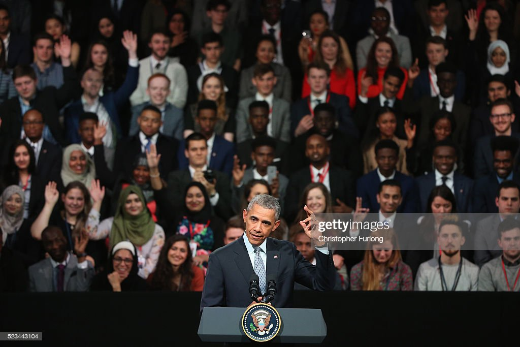 US President Barack Obama speaks at the 'Town Hall' discussion with British youth at the Royal Horticultural Halls on April 23, 2016 in London, England. The President and his wife are currently on a brief visit to the UK where they visited HM Queen Elizabeth II at Windsor Castle yesterday and later had dinner with Prince William and his wife Catherine, Duchess of Cambridge at Kensington Palace. Mr Obama also visited 10 Downing and held a joint press conference with British Prime Minister David Cameron where he stated his case for the UK to remain inside the European Union.