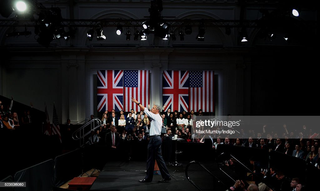President Obama Attends Town Hall Event In Central London : News Photo