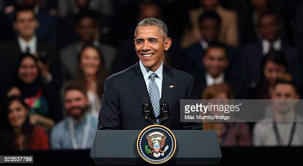 US President Barack Obama speaks at the 'Town Hall' discussion with British youth at the Royal Horticultural Halls on April 23 2016 in London England...