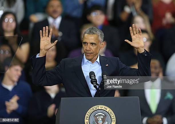 President Barack Obama speaks at the University of Nebraska Omaha Baxter Arena on January 13, 2016 in Omaha, Nebraska. The president spoke a day...