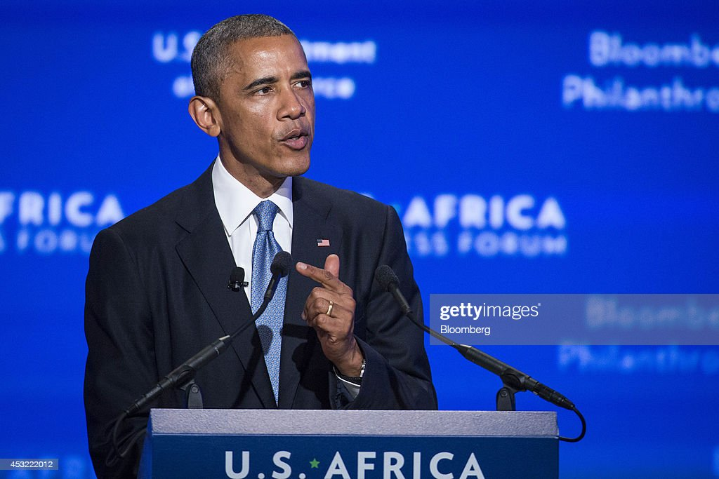 U.S. President Barack Obama speaks at the US-Africa Business Forum in Washington, D.C., U.S., on Tuesday, Aug. 5, 2014. A two-decade surge in growth in Africa suggests the poorest continent is starting to come to grips with its challenges and has raised the prospect of the 'African lions' emulating the 'Asian tiger' economies in the 21st century. Photographer: Drew Angerer/Bloomberg via Getty Images