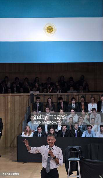 """President Barack Obama speaks at the """"Usina del Arte"""" cultural centre in Buenos Aires on March 23, 2016. The United States and Argentina sealed a..."""