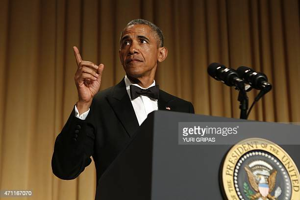US President Barack Obama speaks at the White House Correspondents' Association Dinner in Washington DC on April 25 2015 AFP PHOTO/YURI GRIPAS