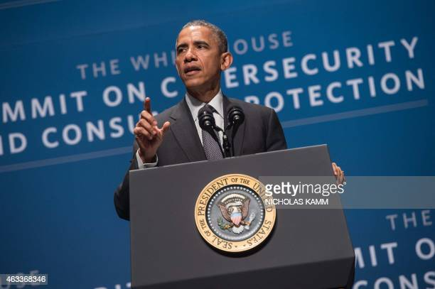 US President Barack Obama speaks at the White House Summit on Cybersecurity and Consumer Protection at Stanford University in Palo Alto on February...