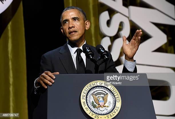 President Barack Obama speaks at USC Shoah Foundation's 20th Anniversary Gala at the Hyatt Regency Century Plaza on May 7, 2014 in Century City,...