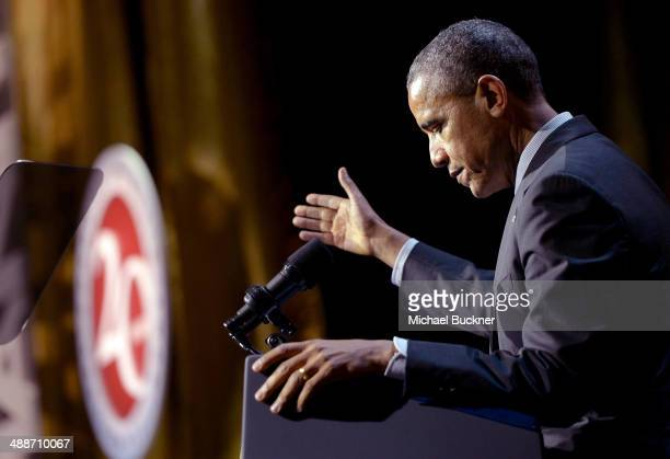 S President Barack Obama speaks at USC Shoah Foundation's 20th Anniversary Gala at the Hyatt Regency Century Plaza on May 7 2014 in Century City...