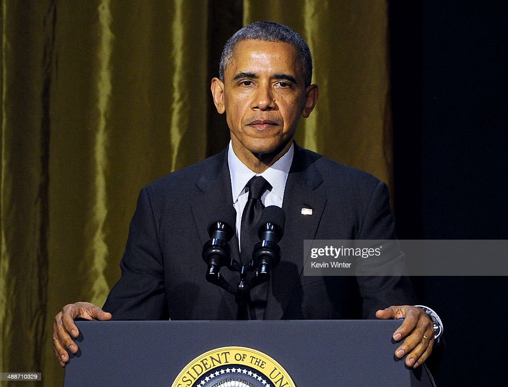U.S. President Barack Obama speaks at USC Shoah Foundation's 20th Anniversary Gala at the Hyatt Regency Century Plaza on May 7, 2014 in Century City, California.