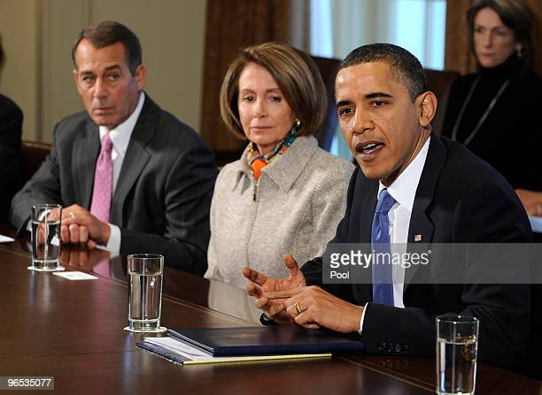 President Barack Obama speaks before a bipartisan meeting with congressional leaders for a discussion about jobs and the economy as House Republican...