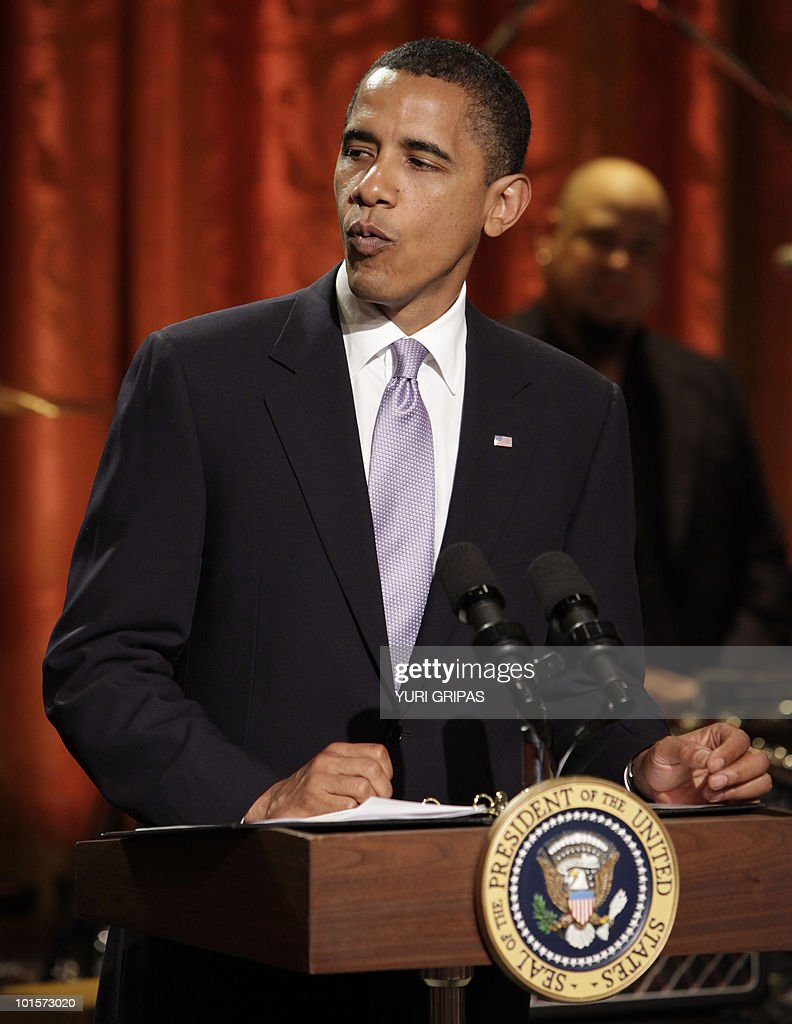 US President Barack Obama speaks before presenting Paul McCartney with the third Gershwin Prize for Popular Song at the White House in Washington, DC on June 2, 2010. McCartney's appearance was part of a two-day series of events marking the award issued by the Library of Congress.