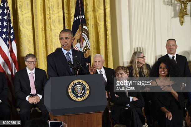 US President Barack Obama speaks before presenting the Presidential Medal of Freedom the nation's highest civilian honor during a ceremony in the...