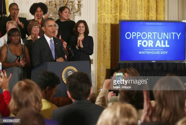 S President Barack Obama speaks before signing an executive order banning federal contractors from retaliating against employees during an event in...