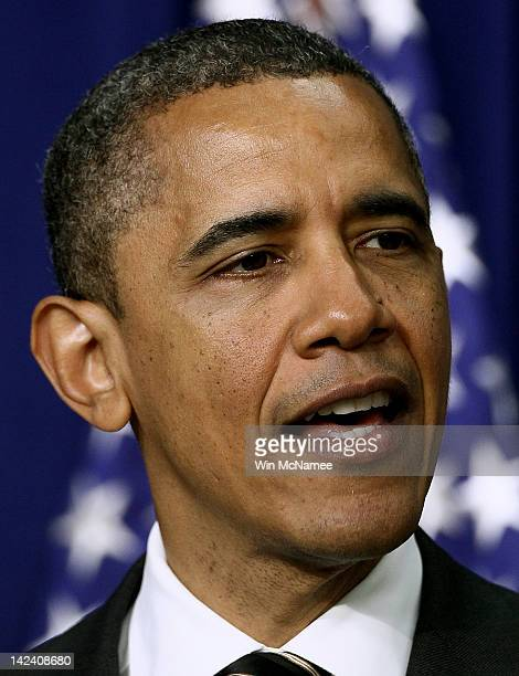 S President Barack Obama speaks before signing the STOCK Act into law at the Eisenhower Executive Office Building April 4 2012 in Washington DC The...
