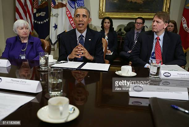 S President Barack Obama speaks Chair of the Federal Reserve Janet Yellen and Director of the Consumer Financial Protection Bureau Richard Cordray...